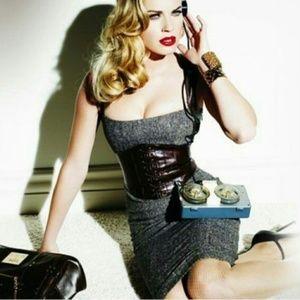 BEBE Tweed Leather Corset Dress